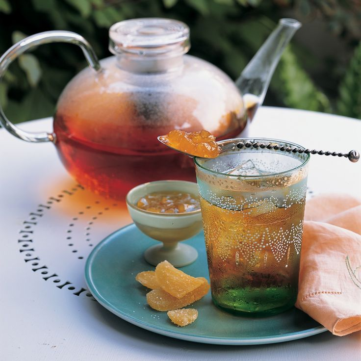 Ginger preserves add a sweet heat to smoky Lapsang Souchong tea. Lapsang tea naturally tastes smokier than others.