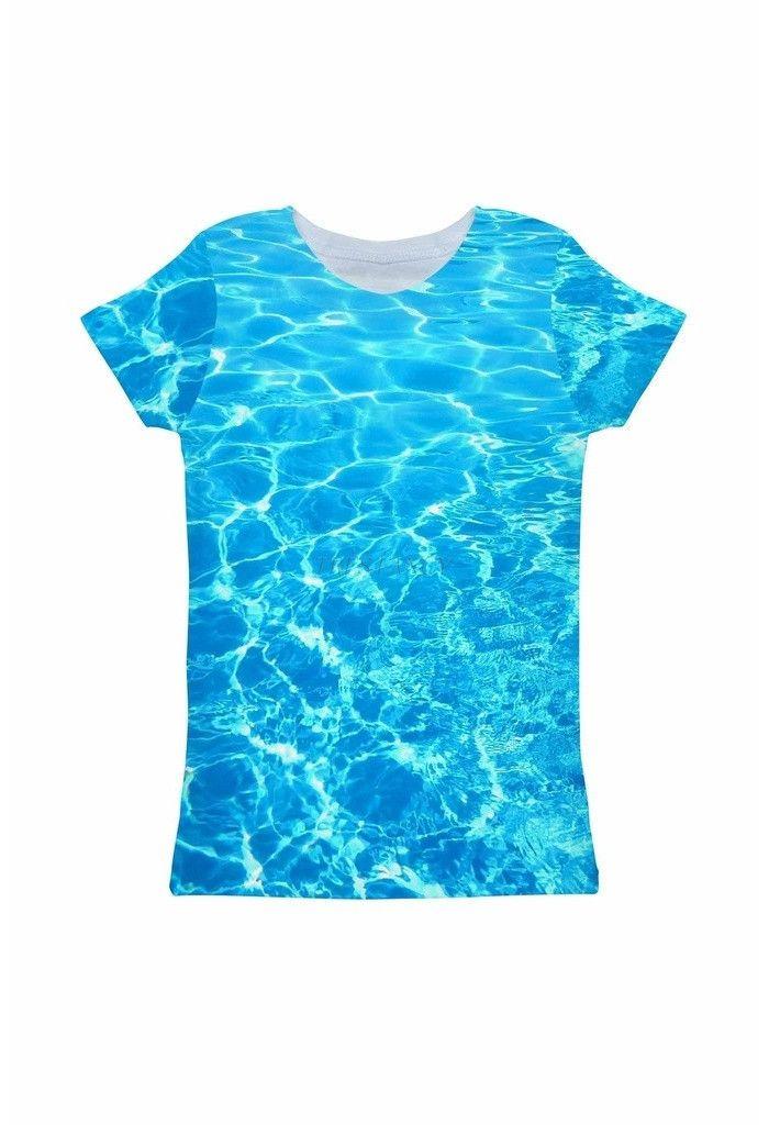 Harmony Song Zoe Blue Water Print Designer Tee - Girls