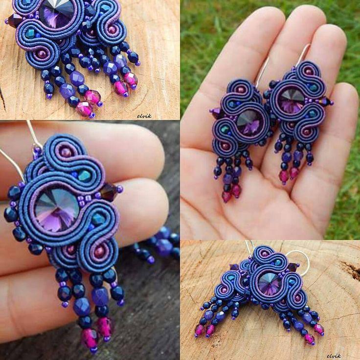 Navy earrings #sutasz #soutache #earrings #kolczyki #handmade #rekodzielo #jewerly #jewelry #fashion #fashiongram #madeinpoland #bijoux