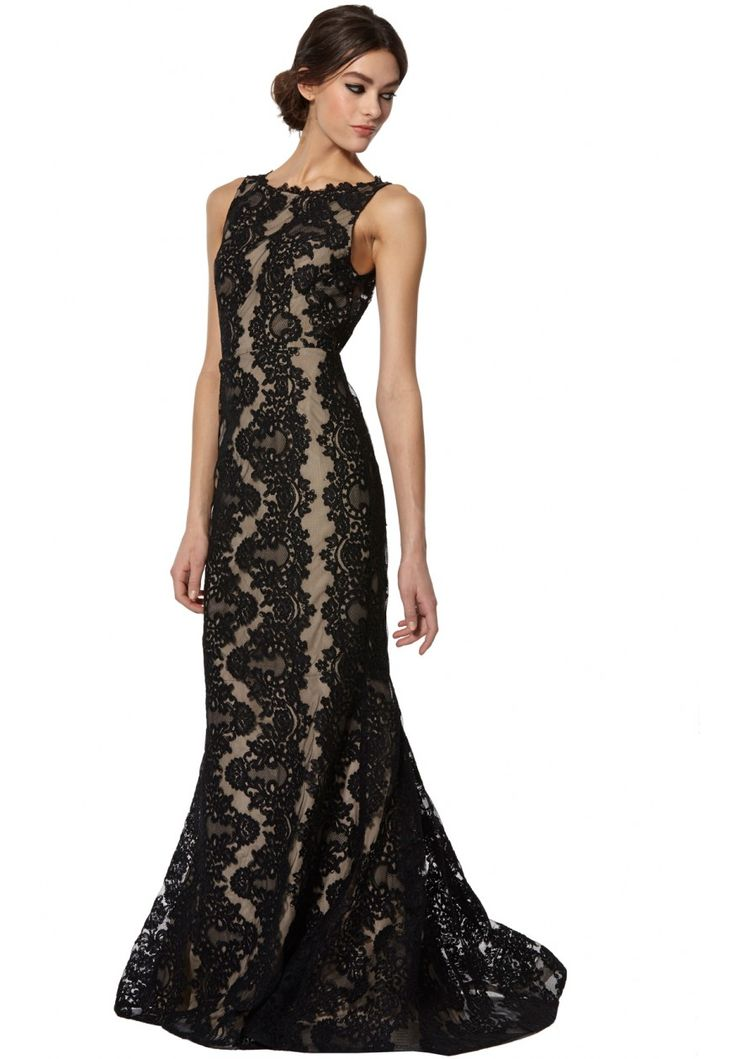 Alice and olivia long black lace dress