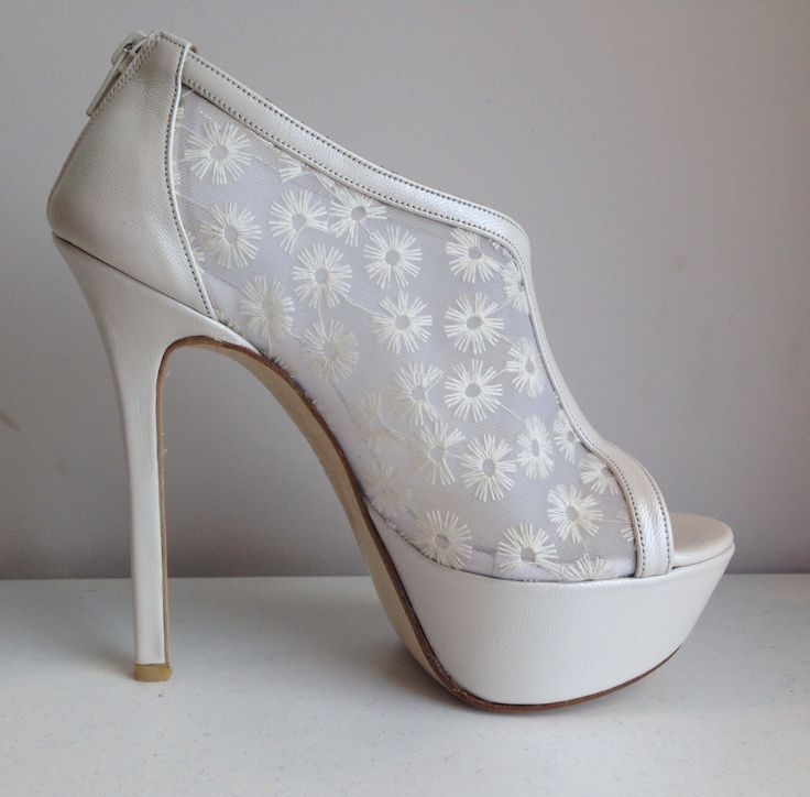 Amarisso New York Wedding bridal shoes with lace and leather.