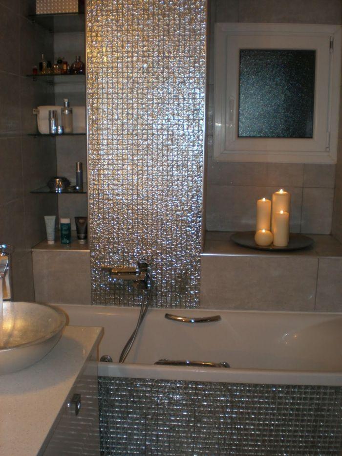 Elegante Glänzende Mosaik Fliesen Fürs Bad Romantische