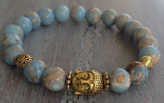 The stone of October : Jasper.  Buddha Bracelet Boho Chic Beaded Bracelet Jasper by indietiez