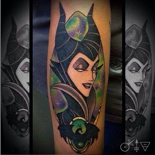 This beautiful bit of evil was tattooed by Donavan Kinyon. #InkedMagazine #tattoo #tattoos #art #inked #villain #Disney