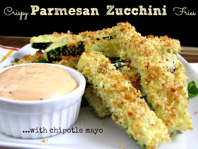 Crispy Parmesan Zucchini Fries with Chipotle Mayo! Both tasty and satisfying, these are perfect as a snack or a side dish!