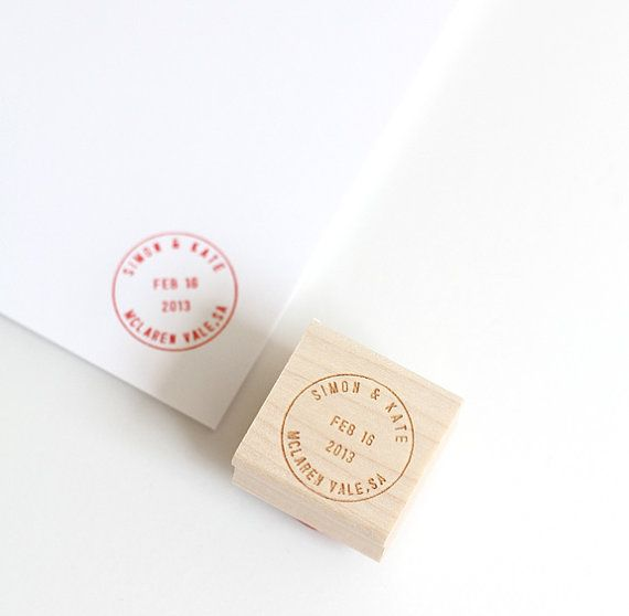 Postmark custom stamp wedding custom stationery by BesottedBrand, $40.00