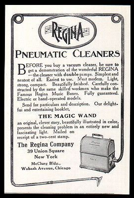 Regina Vacuum Cleaner AD 1911 Modern Electric or Hand Operated Home Appliance AD #HomeAppliancesAdvertising #ModernHomeAppliances