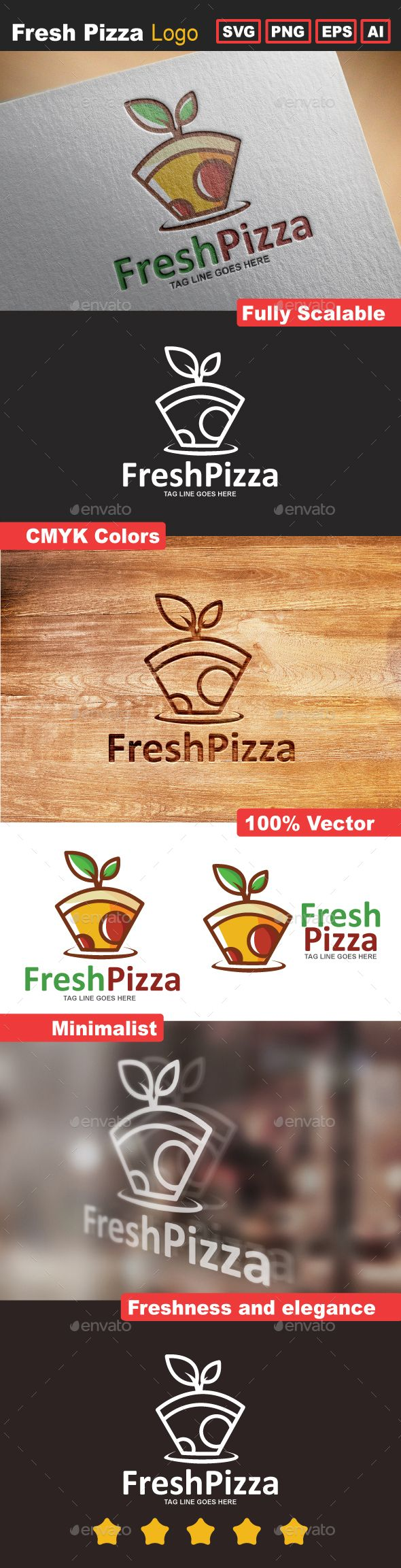 Fresh Pizza Logo Template - Food Logo Templates