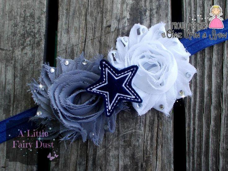 """""""Dallas"""" Double shabby FOE Headband with star feltie & rhinestones"""