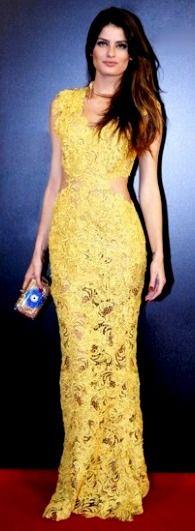 yellow lace gown #Brazilian