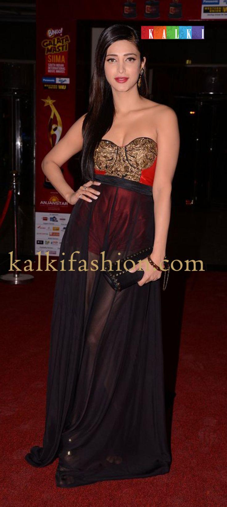 http://www.kalkifashion.com/         Shruti Hassan in Rajat Tangri black sheer gown attending the red carpet of SIIMA