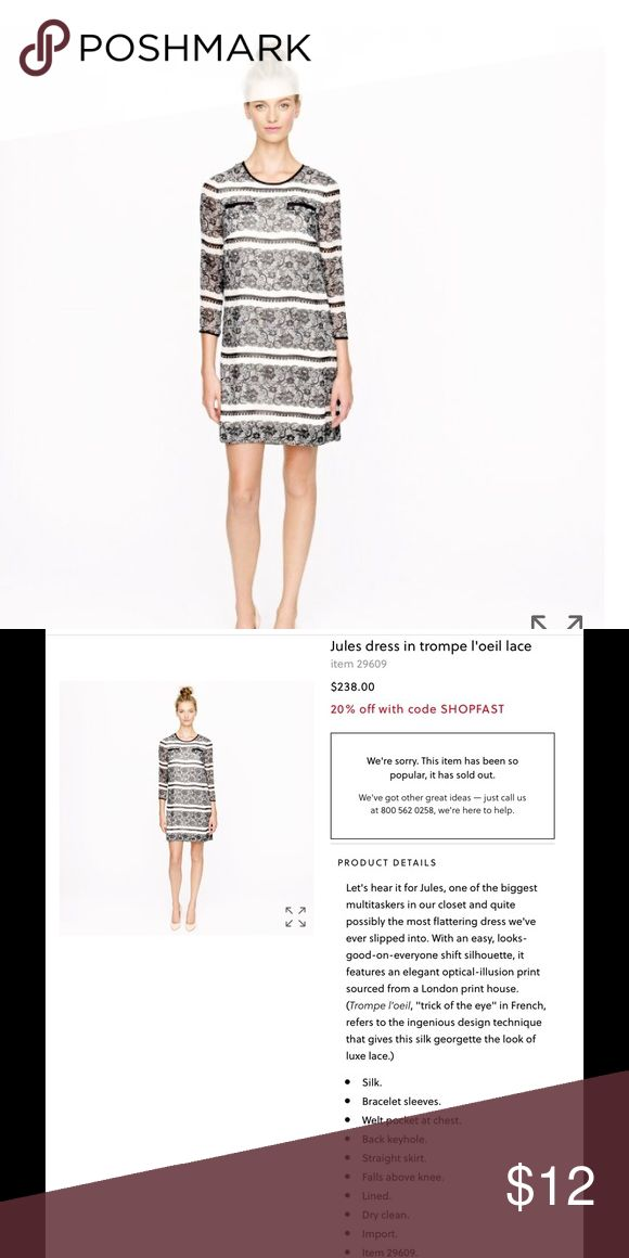 J.crew collection lace print silk dress Look carefully at pic 3,4 J. Crew Dresses