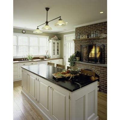 Love the warm fireplace in the kitchen