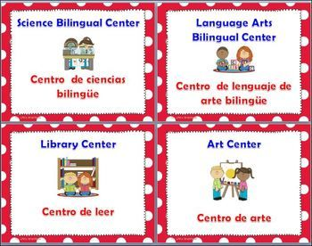 DUAL LANGUAGE - BILINGUAL CLASSROOM CENTERS * POLKA DOT * - dual language centers signs