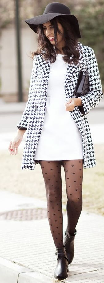 The Houndstooth Coat by Sissy à La Mode. have to break out my black and white pattern jacket with dress