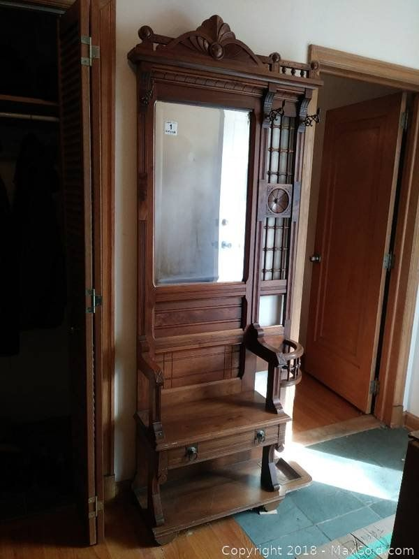 Wood Antique Hall Tree With Coat Hooks Mirror And Bench Seat With Drawer For Storage Antique Hall Tree Antique Coat Rack Hall Tree