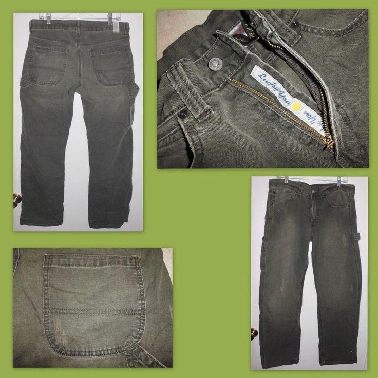 LUCKY BRAND Distressed Green Carpenter Work Mid Rise Jeans 34W Measured Men #LuckyBrand #Carpenter