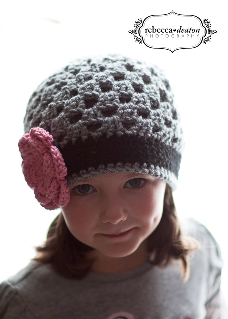 Girls Grey And Black Crochet Beanie Hat With Pink Flower