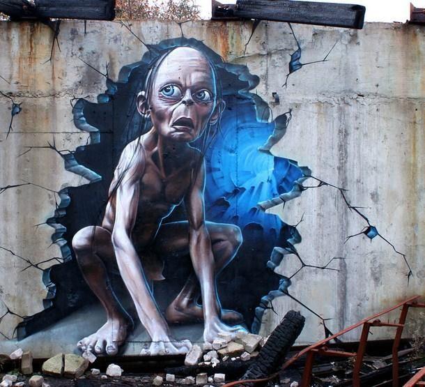 Gollum, street art by Smug One