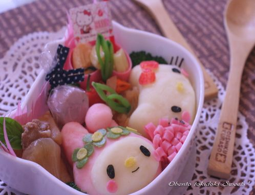 my melody & hello kitty bento