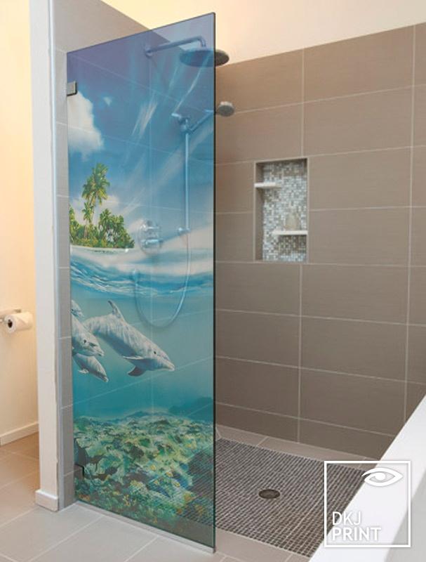 Adesivo decorativo transparente fundo do mar para box de banheiro  Tamanho  -> Banheiro Pequeno Adesivo