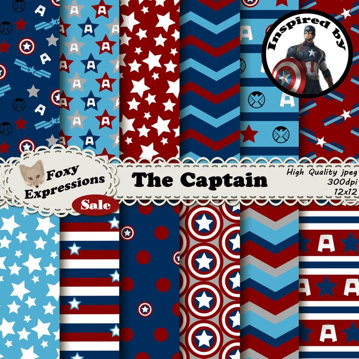 New to FoxyExpressions on Etsy: The Captain digital paper inspired by Captain America. Comes with stars stripes captains america shield Avengers A Agents of Shield logo (0.99 USD)