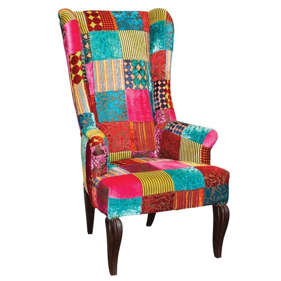 King occasional chair (in velvet patch fabric).