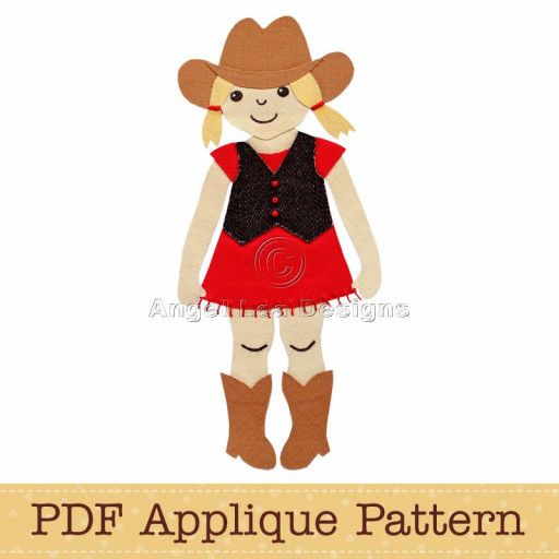This listing is for a PDF applique pattern of a cowgirl. The template is an outline drawing of the applique shapes that can be printed on A4 / letter size paper for tracing onto your own fusible webbing/fabric. Some of the details will need to be embroidered onto the design, or alternatively, drawn on with fabric marker. For a step by step guide on how to make appliques copy and paste the following link into your web browser: http://angelleadesigns.com/tutorials&#x...