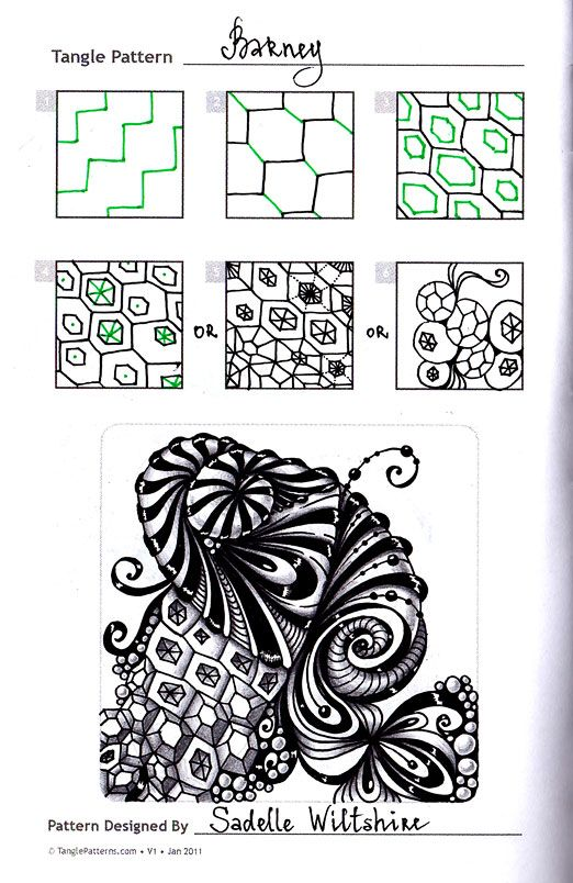 Foto: Zentangle. Обучение. Формат страницы А5. Гелевые ручки, карандаш. Шаблон с сайта TanglePatterns.com.