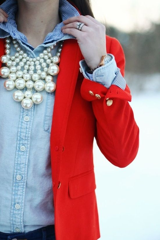 Stunning Red Blazer with simple blue blouse and eye catching pearls to top off this look