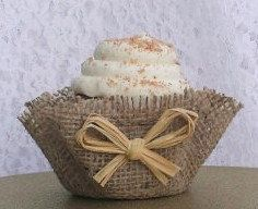Rustic Burlap Cupcake Wrappers Raffia Papers by ThreeTwigsDesigns