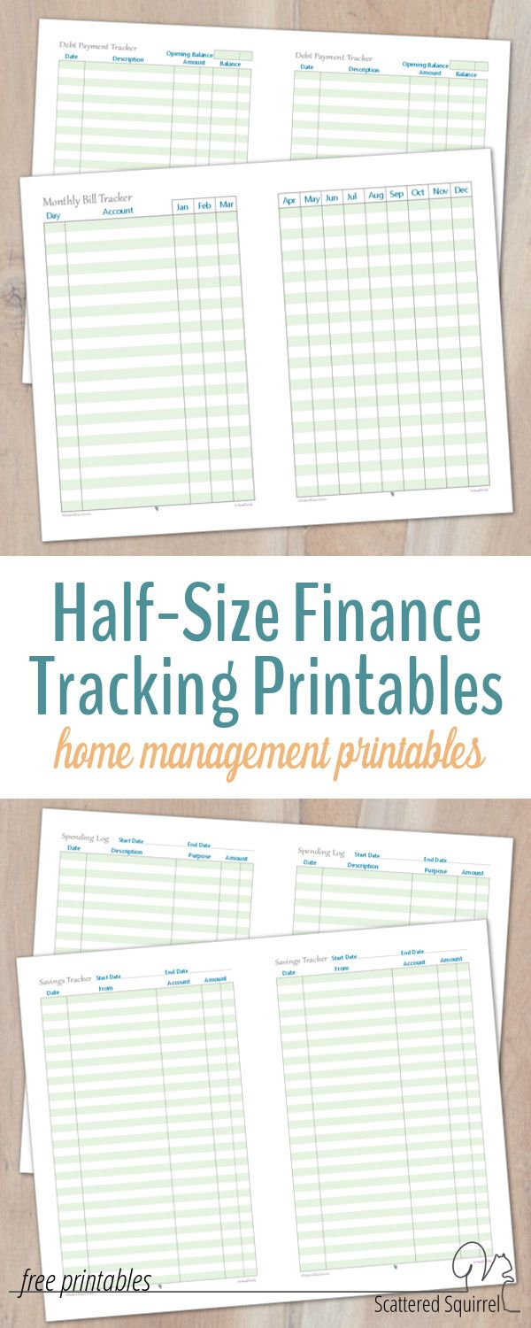 Keep up to date on all your finances with these handy half-size finance tracking printables. The collection includes a monthly bill tracker, spending log, savings tracker, and debt payment tracker, giving you a great overview of where your finances stand.
