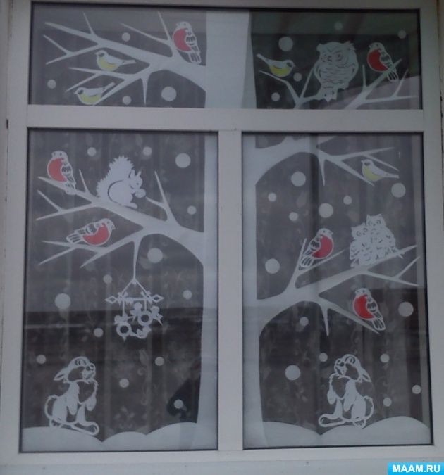 Новогоднее украшение окон «Праздник к нам приходит». Воспитателям детских садов, школьным учителям и педагогам - Маам.ру