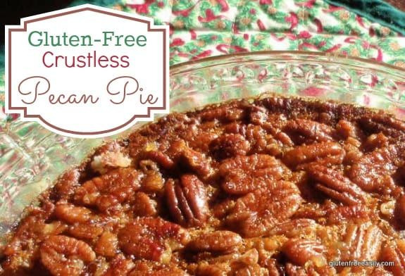 Easy Crustless Gluten-Free Pecan Pie. Naturally gluten free, naturally delicious. NOBODY will miss the crust. So don't even mention that it doesn't have one. Just let folks enjoy this pie! [from GlutenFreeEasily.com] via @shirleygfe
