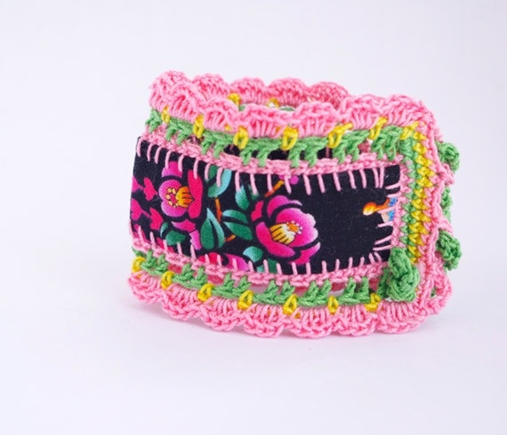 Bracelet tissu japonais dentelle multicolore bijou créateur
