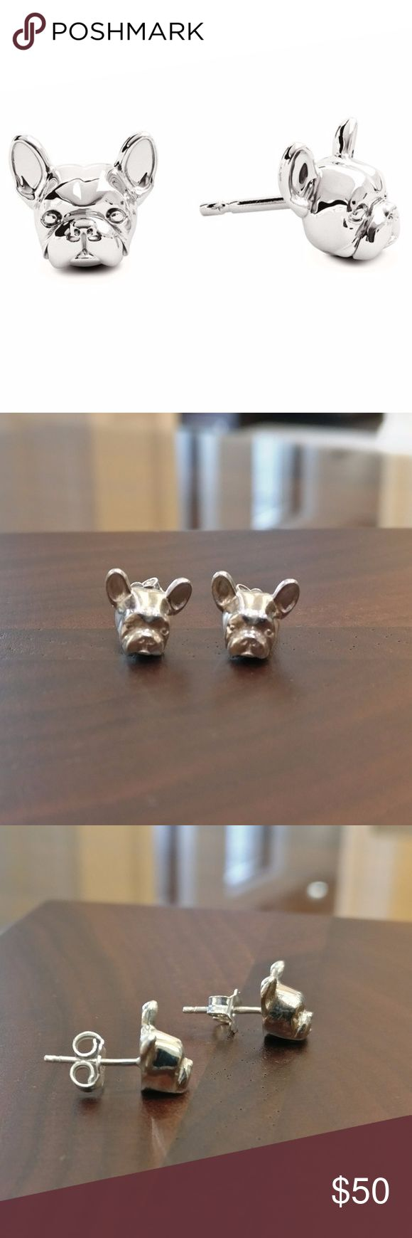 French Bulldog Stud Earrings Sterling Silver PRICE IS FIRM  Handmade by Dog Fever in Italy.  Sterling silver carved to look like a French Bulldog.  Stud earrings with friction posts and backs. Picture next to a ruler for scale. Pristine condition.  PRICE IS FIRM Dog Fever Jewelry Earrings
