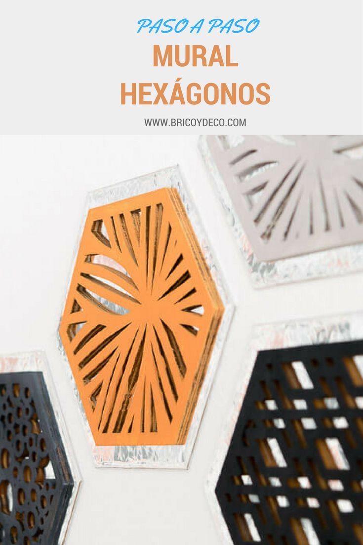 Cómo hacer un mural decorado con hexágonos forrados con vinilo espejo  #hexagon #diy #mural #vinilo #espejo #mirror