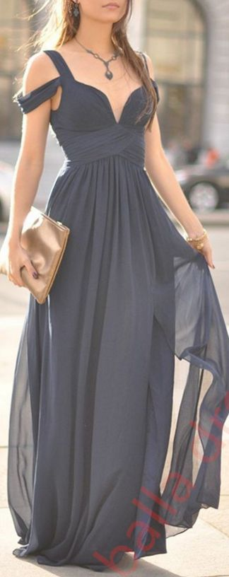 Sexy Slit Prom Dress,Navy Blue Occasion Dress,Off Shoulder Sexy Formal Party Dress,Deep Navy Blue Bridesmaid Dress