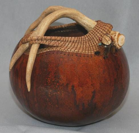 antler and pine needle gourd art   pine needles on a prepared gourd, capturing antler with pine needles ...