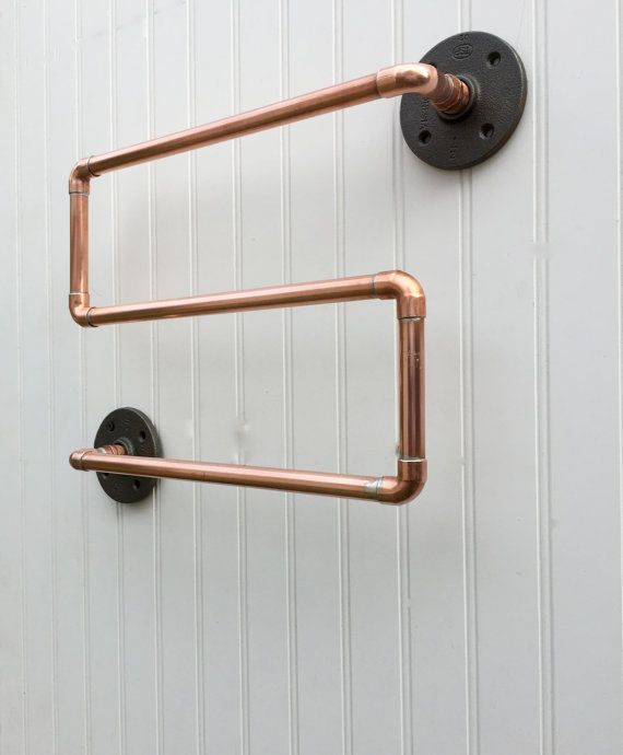 Industrial Copper Pipe Towel Rack Towel Rod Modern by MacAndLexie