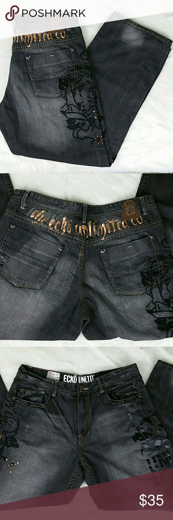 ECHO UNLIMITED HIP-HOP PAINTED & EMBROIDERED JEANS ECHO UNLIMITED~ HIP-HOP PAINTED & EMBROIDERED DARK JEANS 38 X 32 Condition: gentley pre-owned Size: 38W X 32L Fit: Baggy Measurements: See photo # 7 Material: 100% Cotton Ecko Unlimited Jeans Relaxed