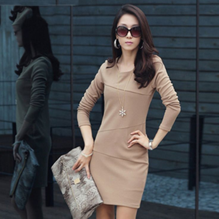 Ladies Women Dresses Tunic Hot Round Neck Slim Cocktail Causal Dress