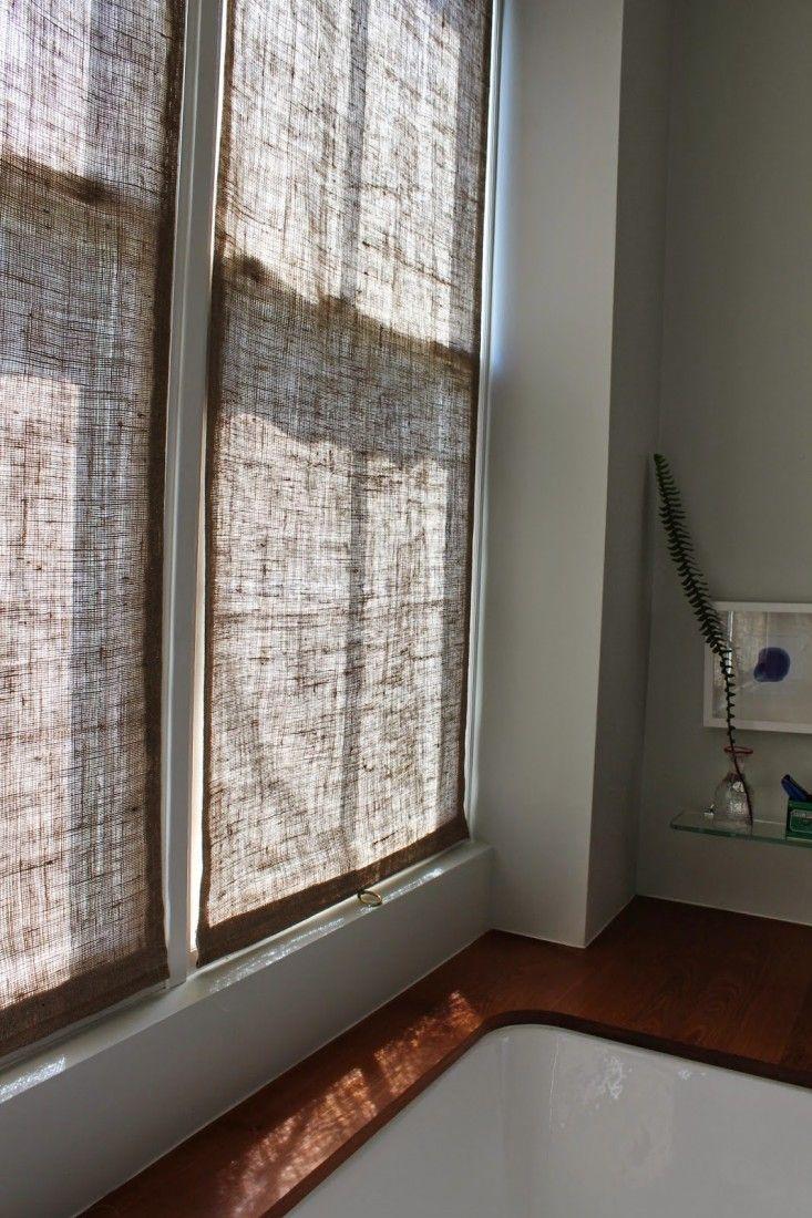 DIY burlap window panels | Remodelista