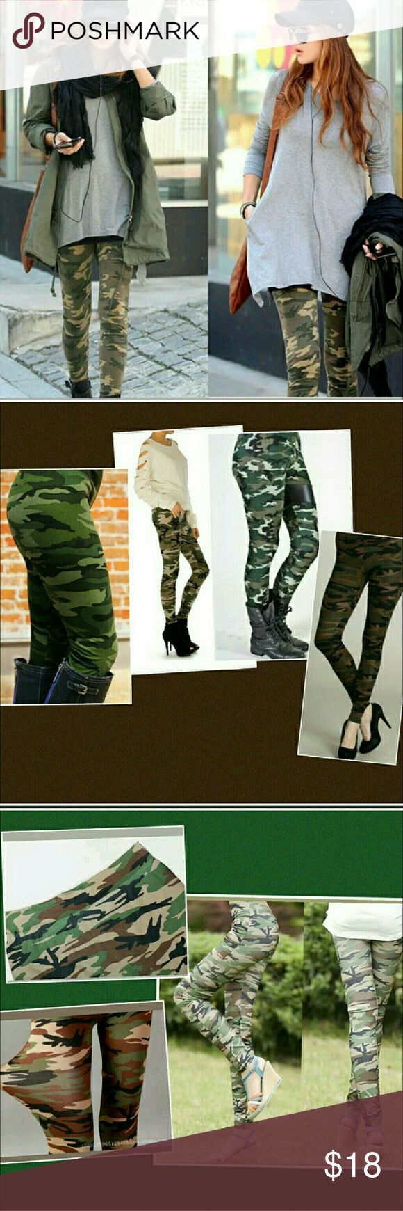 Camo Leggings Stretchy Skinny Camouflage Pants Camo leggings,  still new in the package. Stretchy to fit most sizes.   Smoke free home. I will gladly bundle items to give you a discount (the more you buy, the cheaper I can let everything go!). Many items can be added on for only $1.  MAKE AN OFFER! Pants Leggings