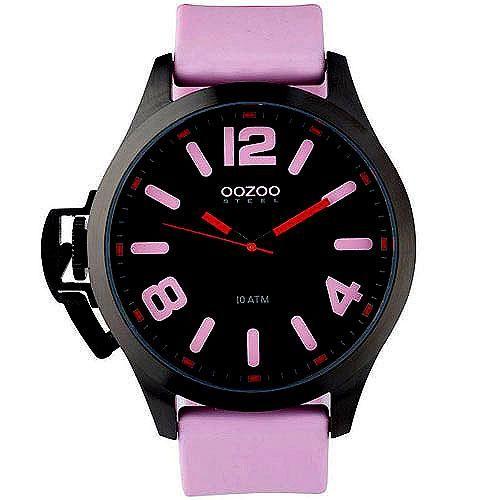 Ρολόγια : Unisex Ρολόι Oozoo XXL Black Dial Pink Rubber Strap - OS377