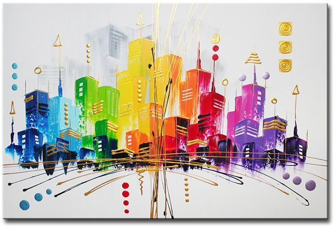 Een grote modern gekleurde skyline op canvasdoek