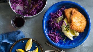 Schnitzel with mashed potatoes and red cabbage recipe : SBS Food
