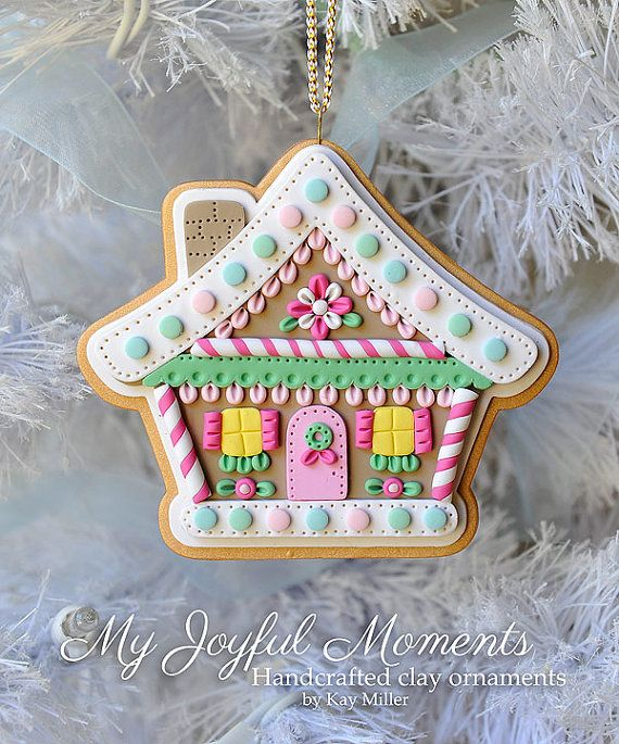 Handcrafted Polymer Clay Gingerbread House Ornament by Kay Miller on Etsy $15