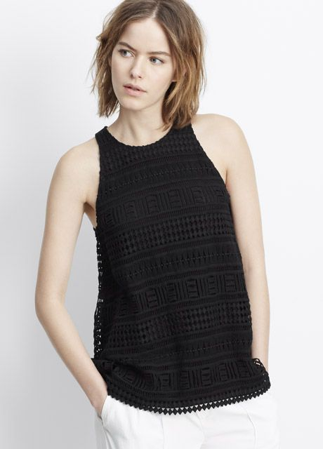 Geo Lace Overlay Tank | Vince
