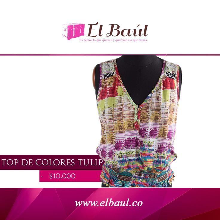 Top Tulip, viste alegre y contagia tu estilo. $10,000 http://elbaul.co/Productos/928/Tulip-top-de-colores--